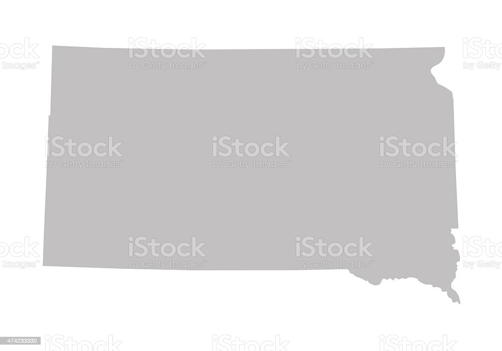 grey map of South Dakota vector art illustration