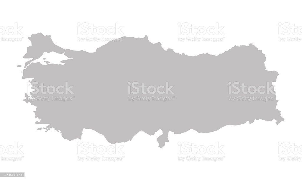 grey Mapa da Turquia - ilustração de arte em vetor