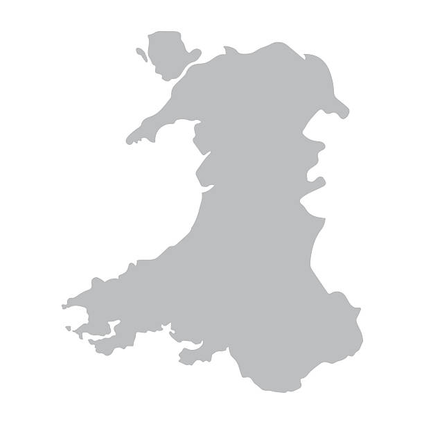 grey map of Wales grey vector map of Wales south wales stock illustrations