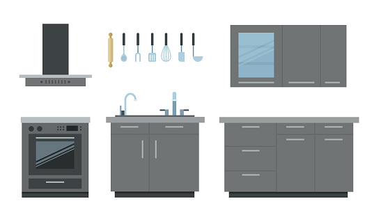 Grey modern kitchen made of furniture, appliances and kitchen utensils vector illustration
