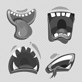 Grey monster mouths vector isolated on transparent background. Cartoon characters collection illustration