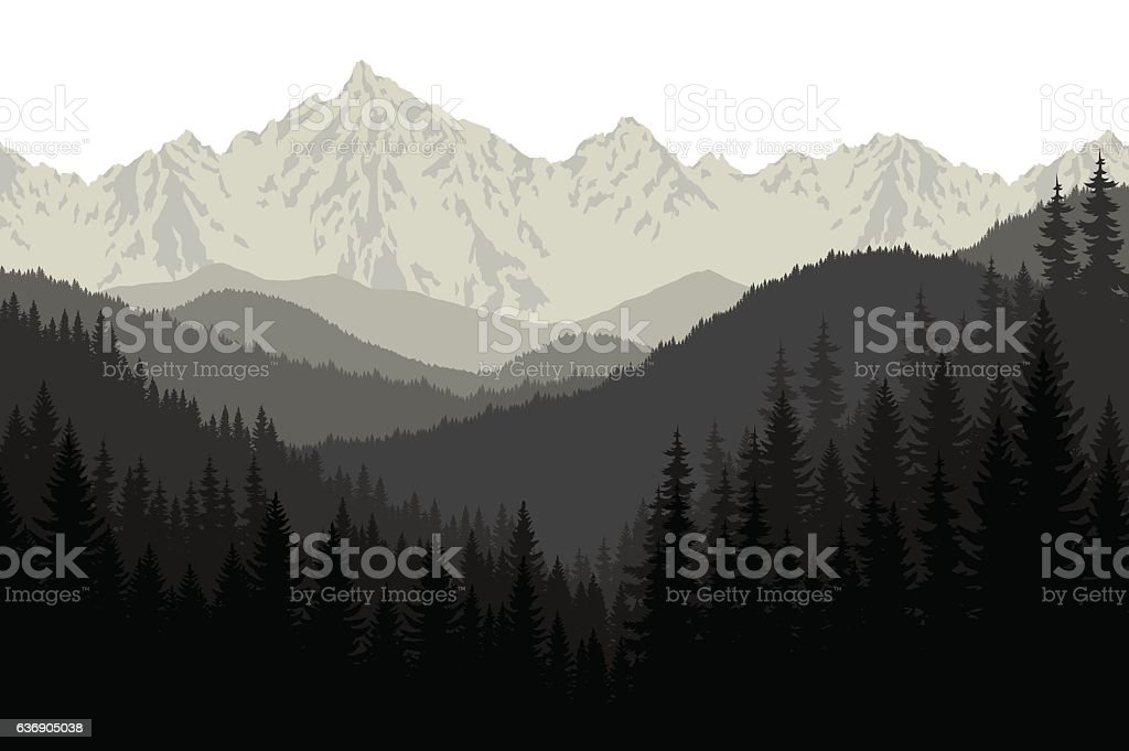 Grey mountains forest retro vintage vector background illustration. - Illustration vectorielle