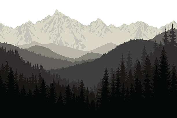 grey mountains forest retro vintage vector background illustration. - wildlife travel stock illustrations, clip art, cartoons, & icons