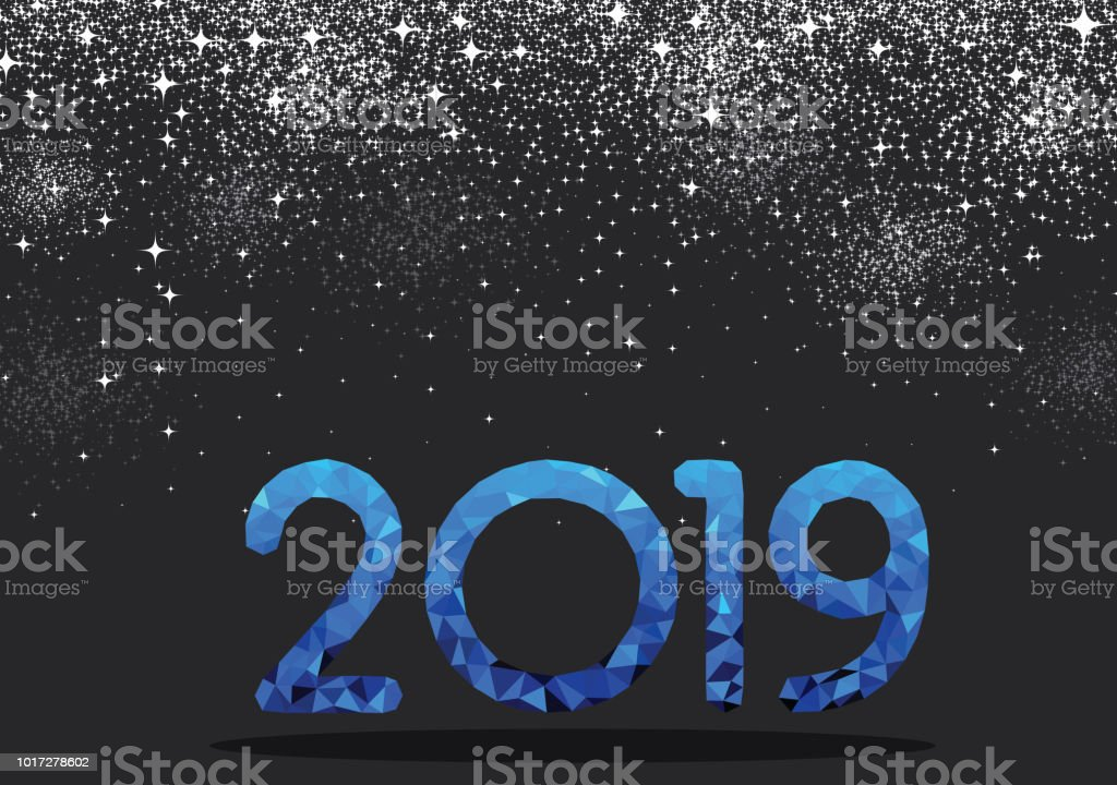 grey new year background with blue mosaic 2019 sign royalty free grey new year
