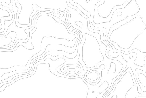 Grey outline topographic contour map abstract tech background vector art illustration