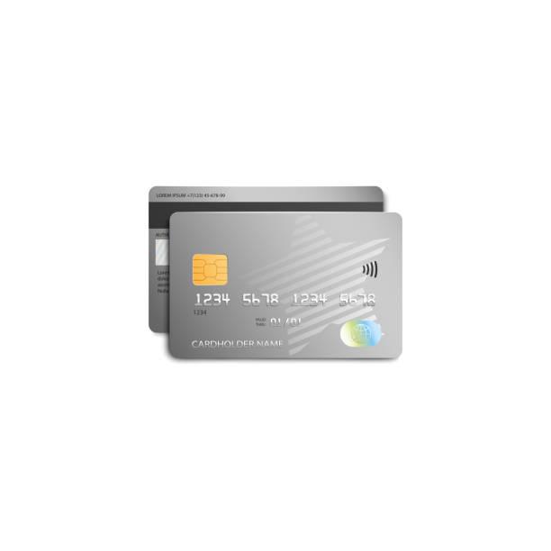 현대 실버 스타 디자인 회색 플라스틱 은행 카드 - 고립 벡터 그림. - credit card stock illustrations