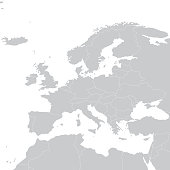 Grey political map of Europe. Europe map vector illustration. Political Europe map.