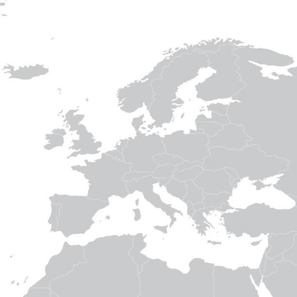 ilustrações de stock, clip art, desenhos animados e ícones de cinza mapa político da europa. mapa político da europa. ilustração vetorial - portugal map