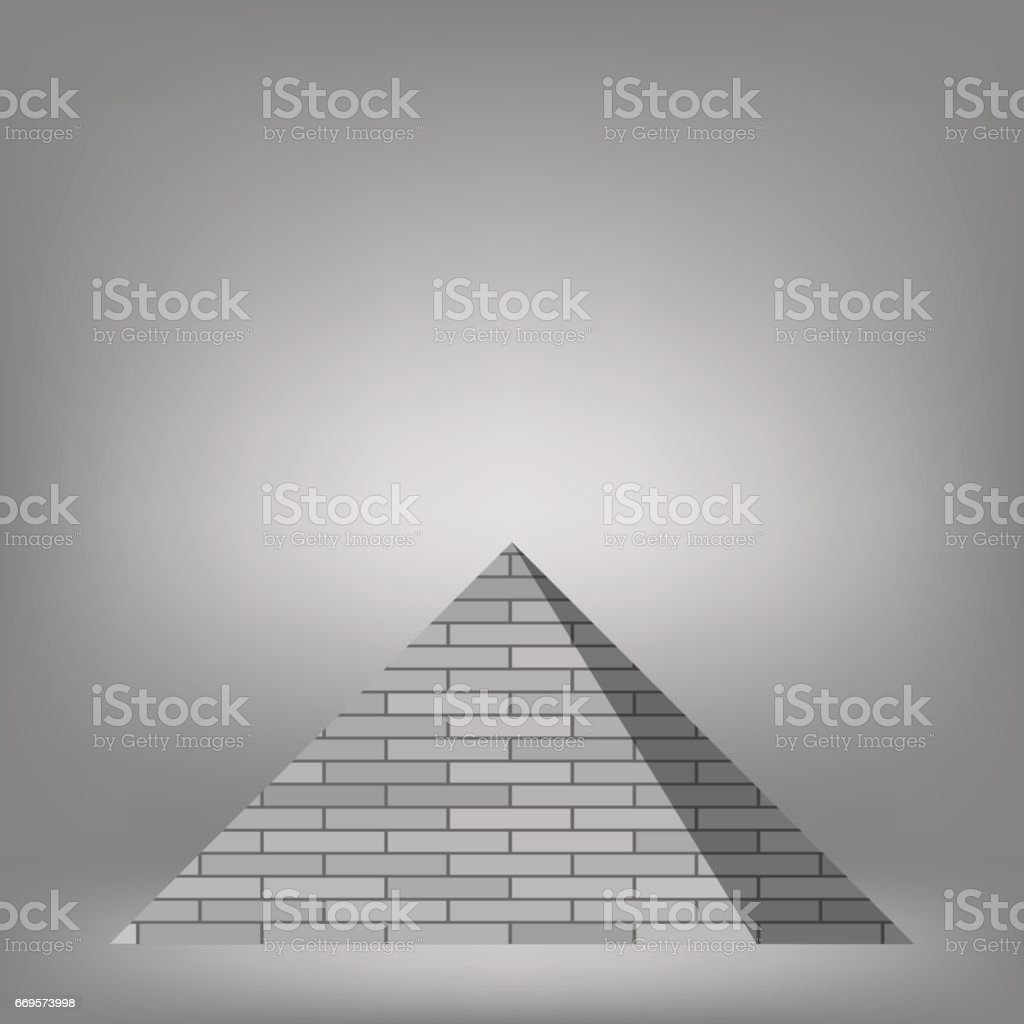 Grey Pyramid Icon vector art illustration