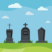 Grey RIP grave tombstones on summer nature scenic background. Different old tomb gravestone with crack cemetery day scene. Vector flat design cartoon style scenery illustration.