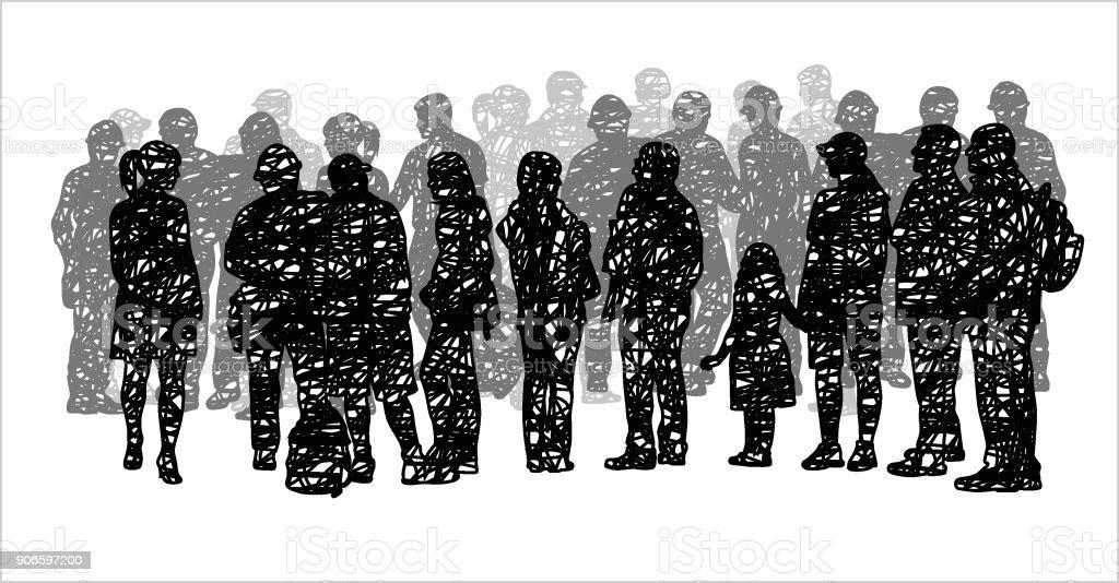 Grey Scribble Silhoutte Crowd vector art illustration
