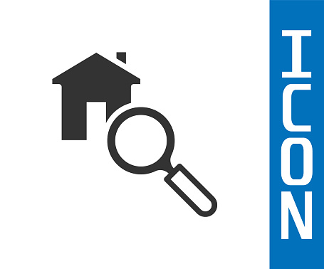 Grey Search house icon isolated on white background. Real estate symbol of a house under magnifying glass. Vector