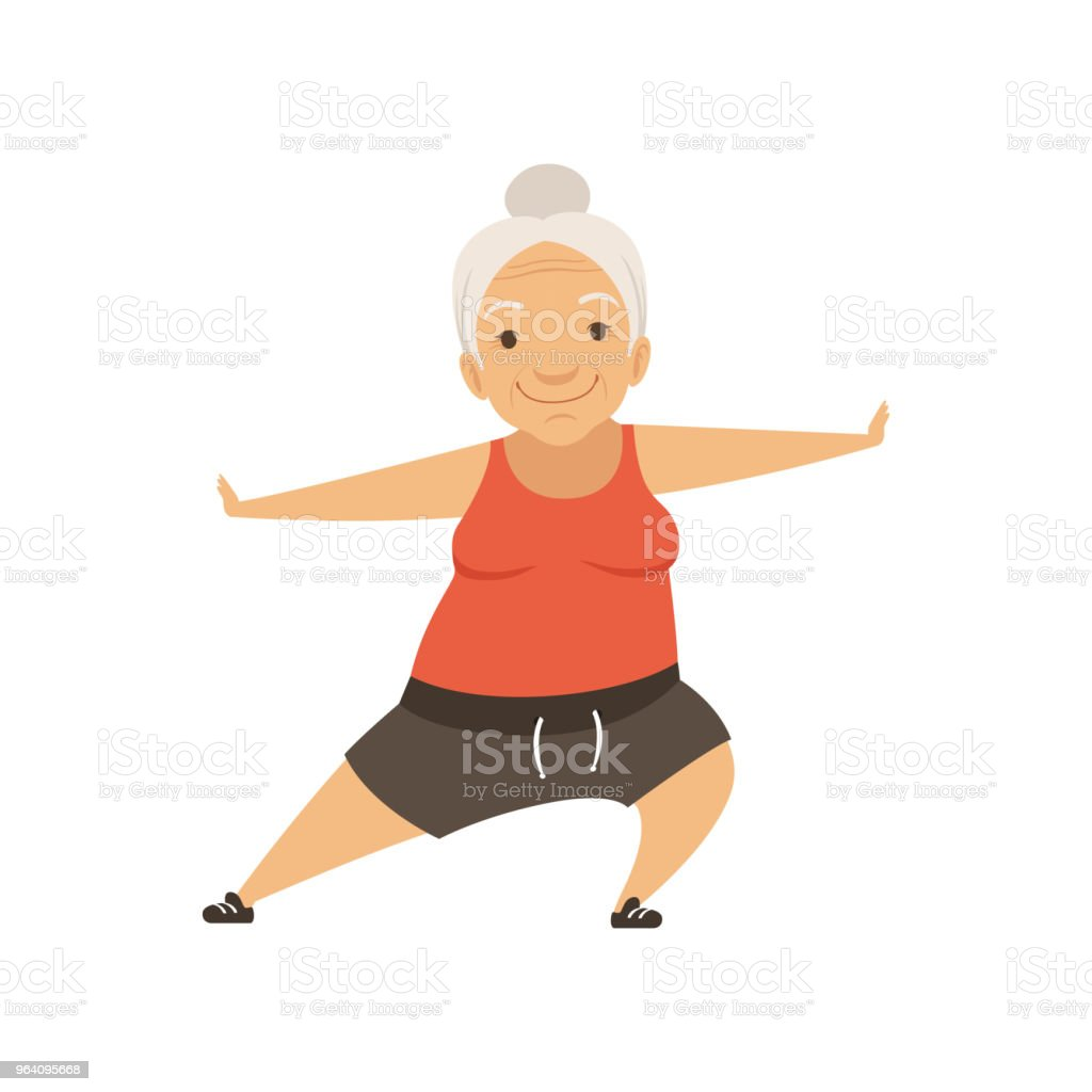 Grey senior woman doing sports, grandmother character doing morning exercises or therapeutic gymnastics, active and healthy lifestyle vector Illustration on a white background - Royalty-free Adult stock vector
