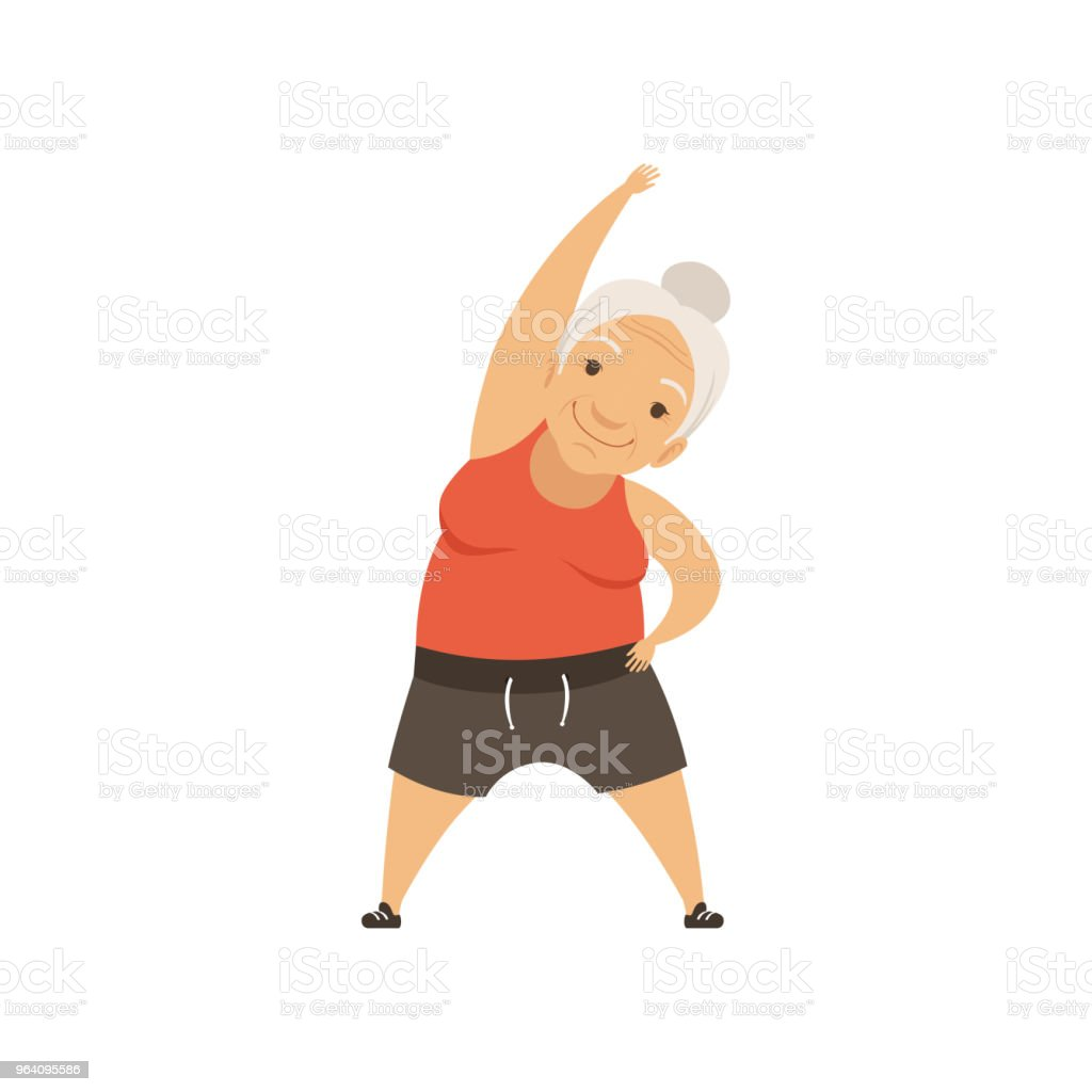 Grey senior woman in sports uniform doing incline to side, grandmother character doing morning exercises or therapeutic gymnastics, active and healthy lifestyle vector Illustration - Royalty-free Adult stock vector