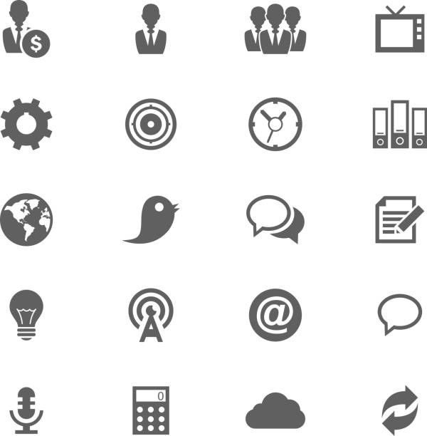 Grey silhouettes of numerous icons Web and Soft Icon set. Vector EPS10. topics stock illustrations