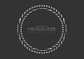 Grey silver metallic circle logo technology background. Vector design