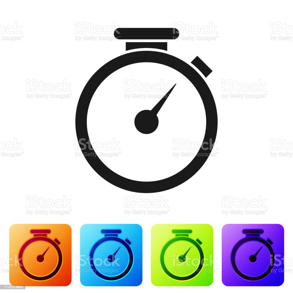 Grey Stopwatch Icon Isolated On White Background Time Timer
