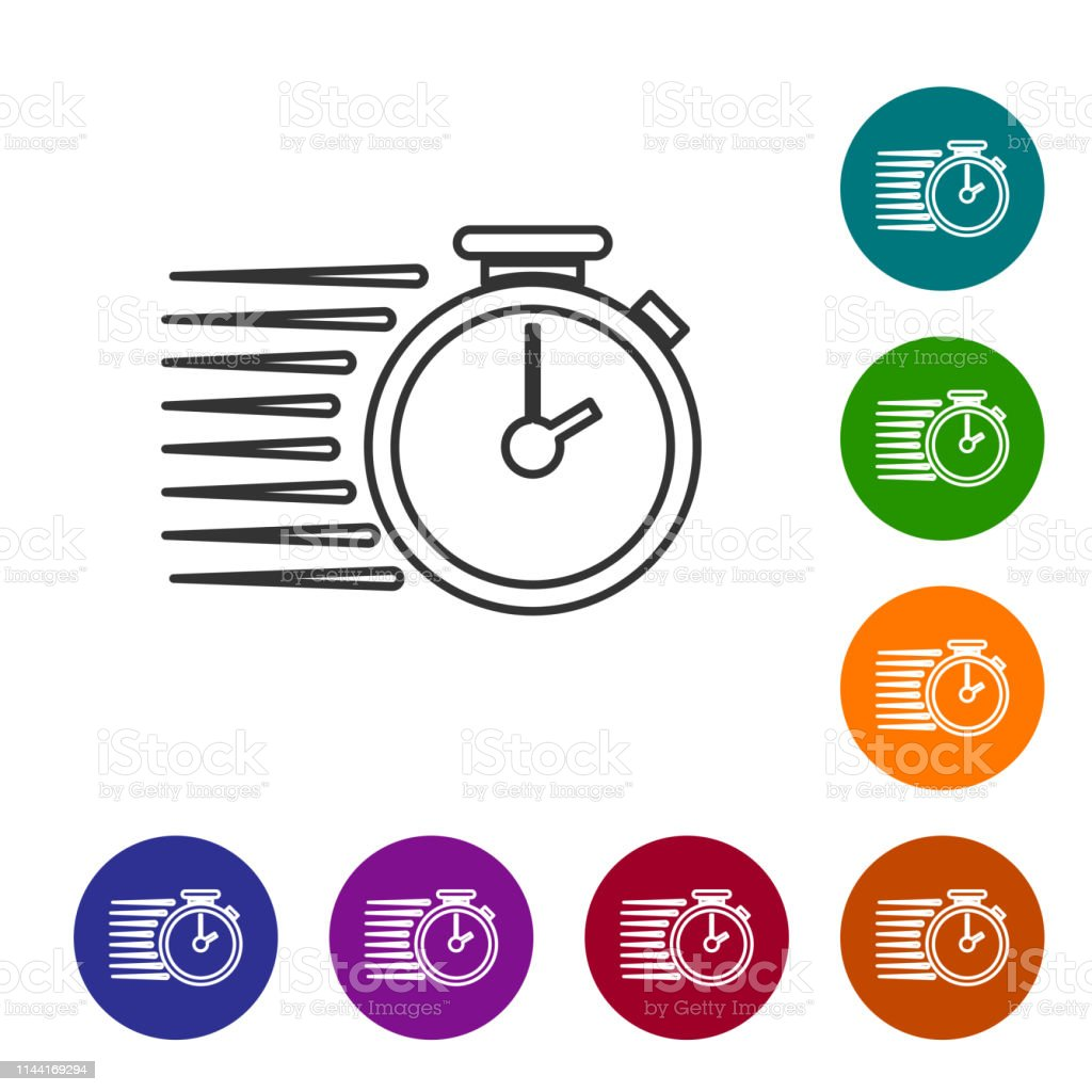 Grey Stopwatch Line Icon Isolated On White Background Time