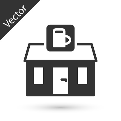 Grey Store building of beer shop icon isolated on white background. Brewery sign. Vector