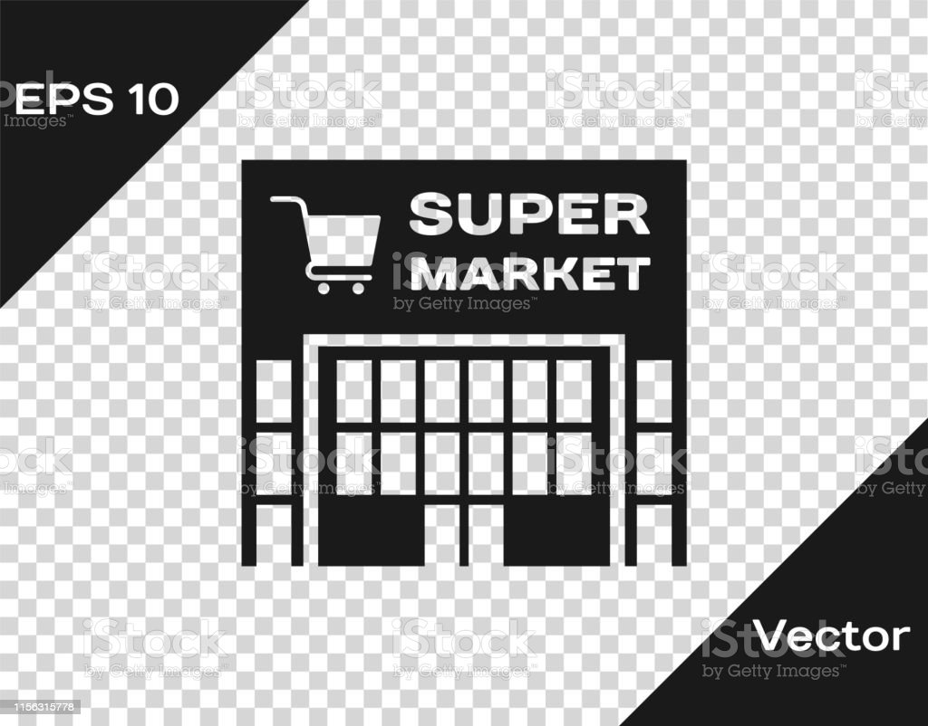 Grey Supermarket building with shopping cart icon isolated on...