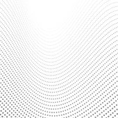 Grey tech wavy dotted lines abstract background. Vector design