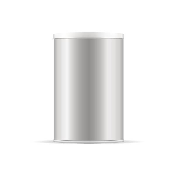 ilustrações de stock, clip art, desenhos animados e ícones de grey tin can with platic cap. container for dry products. - café solúvel
