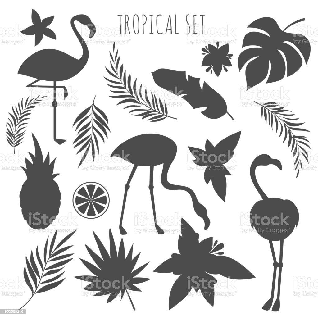 Ilustración de Plantillas Siluetas Tropicales Gris De Las Plantas Y ...