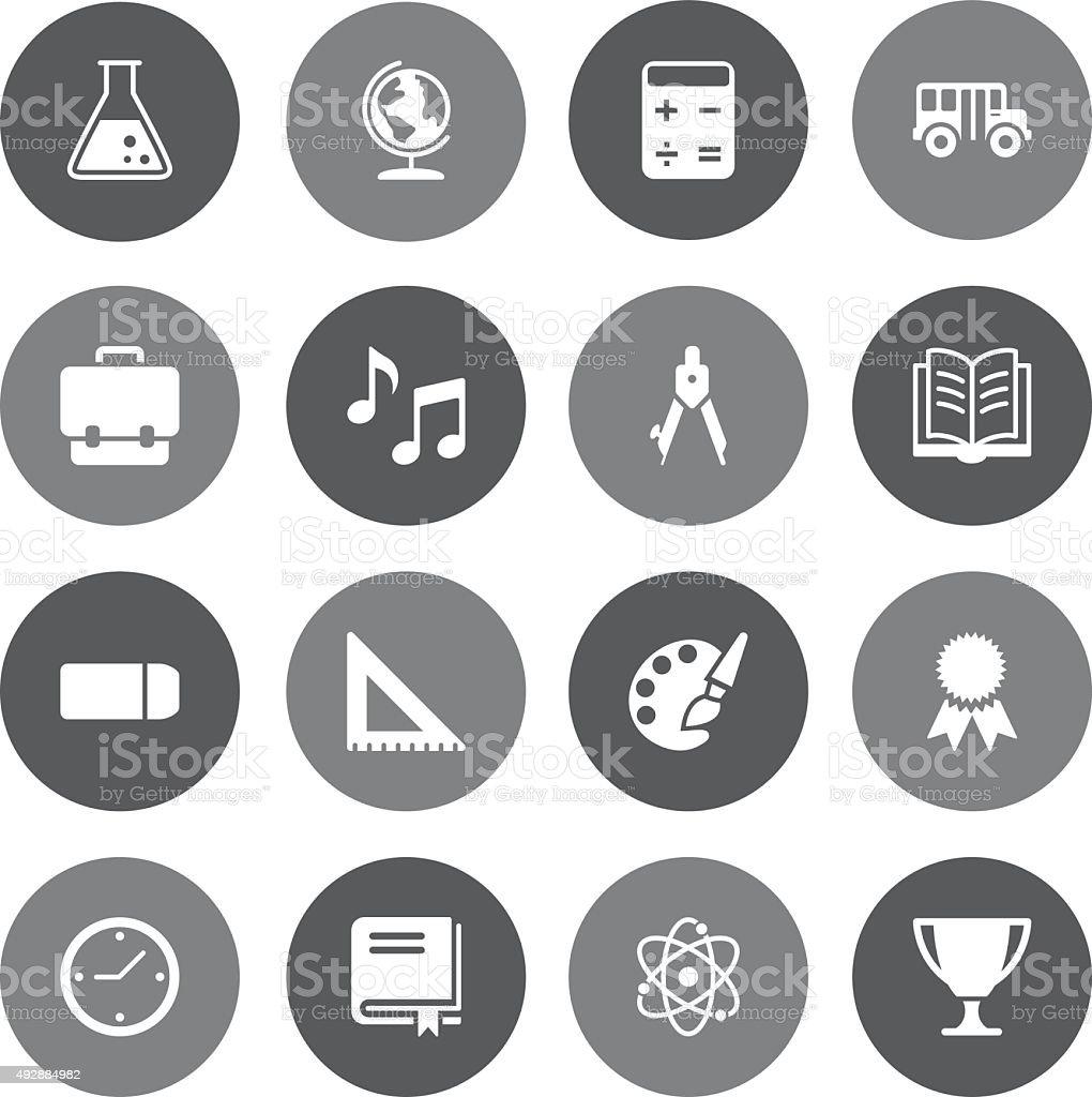 Grey Vector Education - 16 Icons vector art illustration
