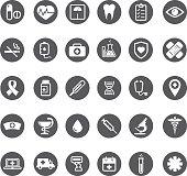 Grey vector medical buttons set