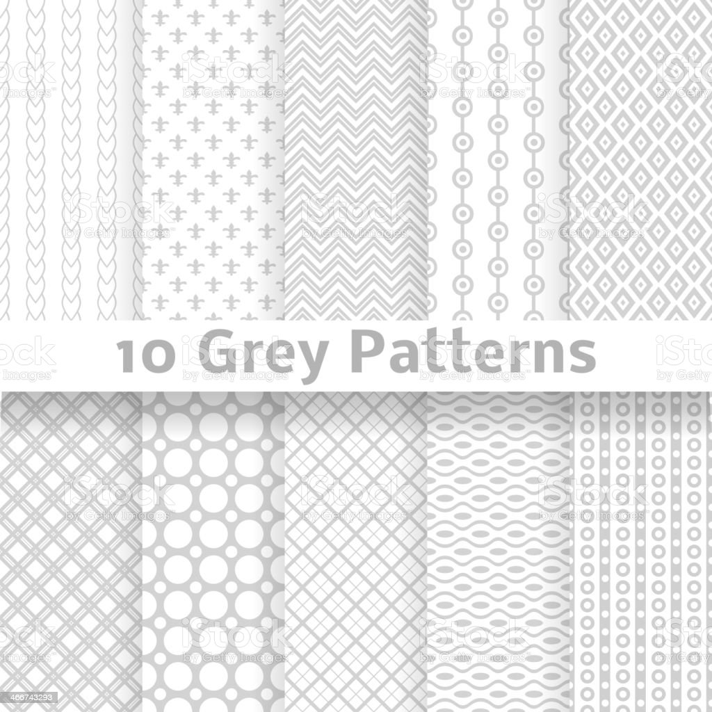 Gris vector seamless patterns (azulejos). - ilustración de arte vectorial