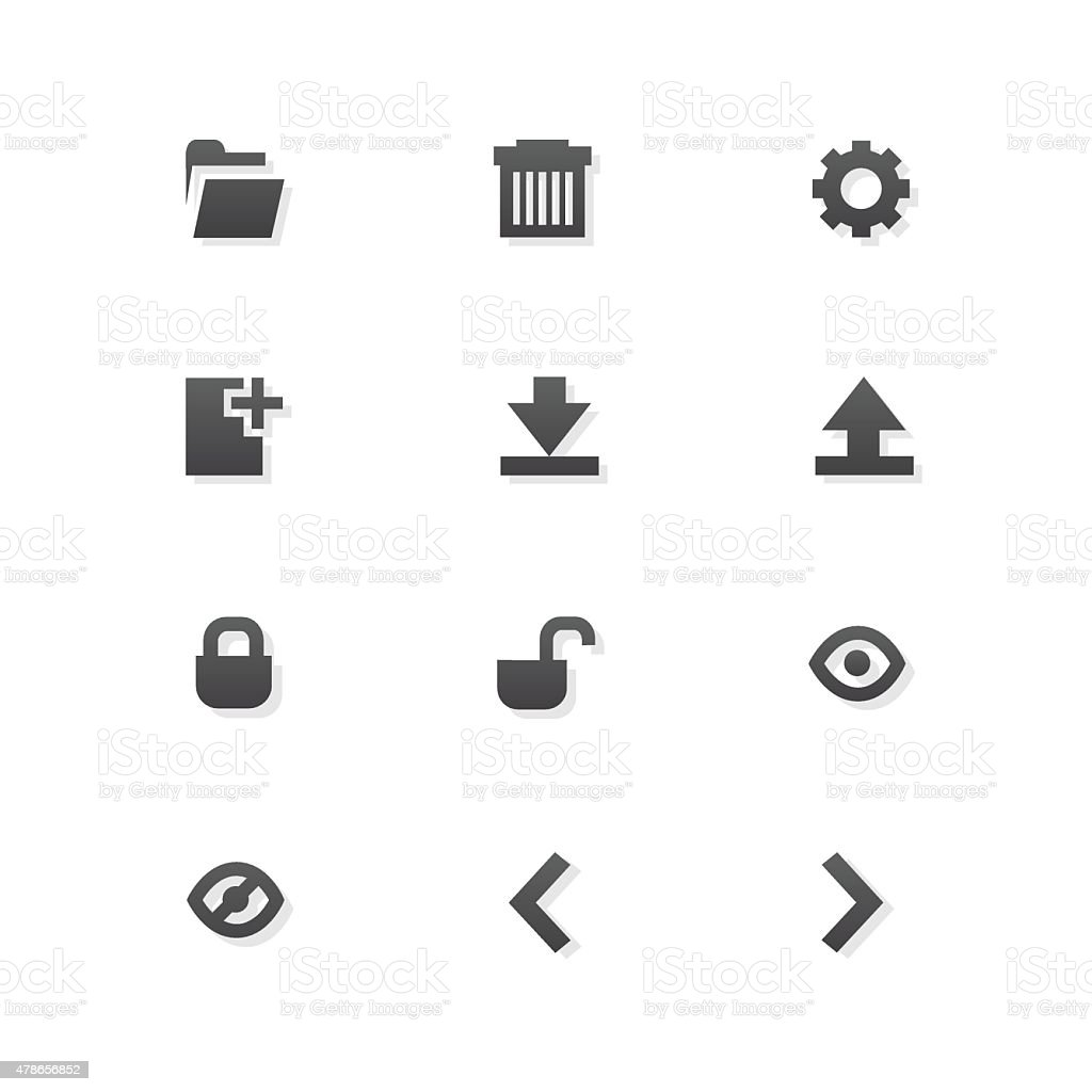 Grey web app graphic editor tools icons on white background vector art illustration