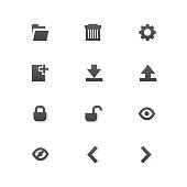 Grey web app graphic editor tools icons on white background