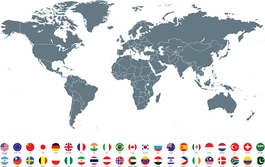 Grey World map with most popular flags against white background