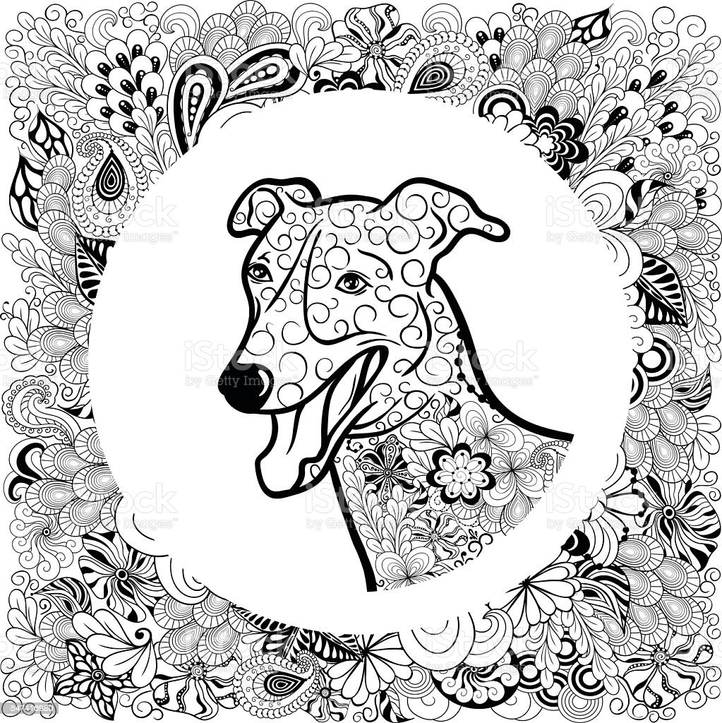 Greyhound Dog head vector art illustration