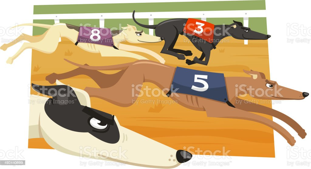 Greyhound Dog Race Racing Dogs vector art illustration