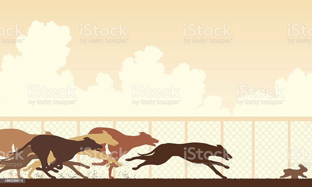 Greyhound dog race vector art illustration