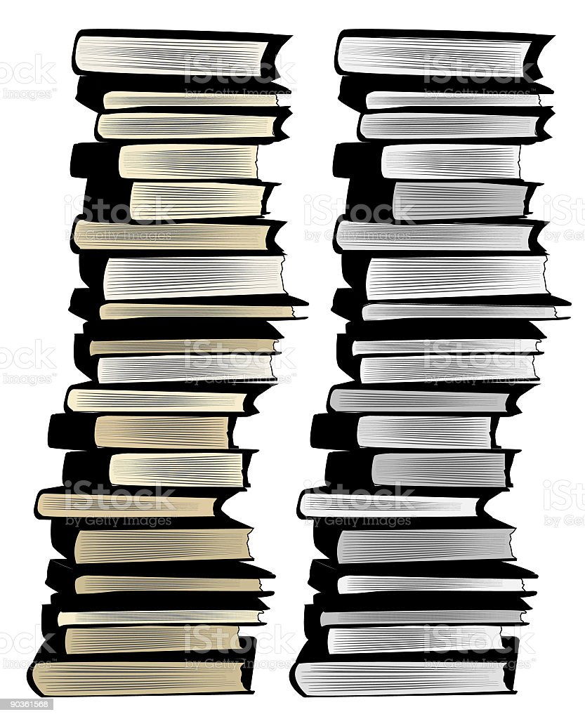 GreyScale Black And Ivory Huge Piles Of Stacked Books Royalty Free Greyscale