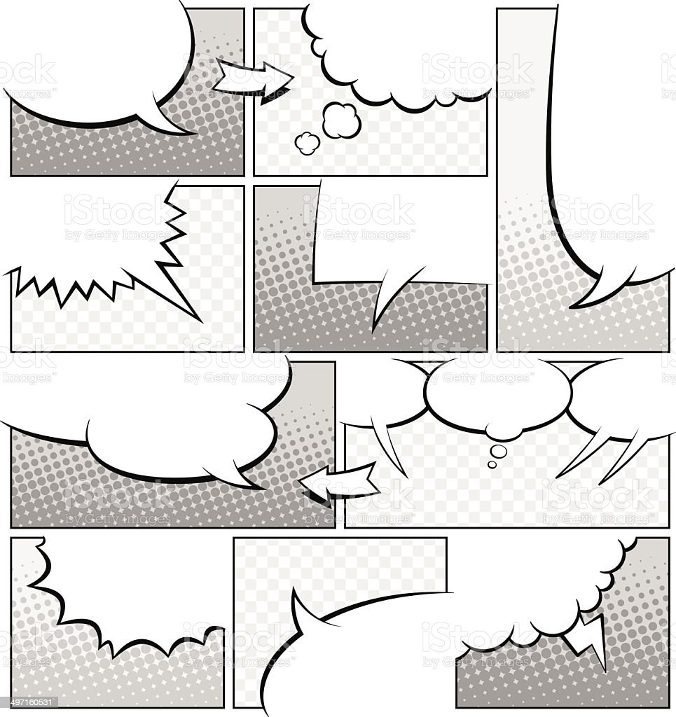 Greyscale Comic Book Page Template vector art illustration