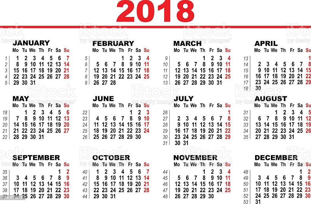 Ilustraci 243 N De Grid Calendar For 2018 Y M 225 S Banco De