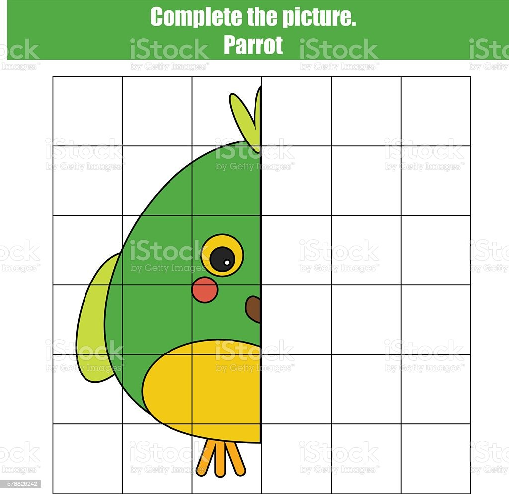 Grid Copy Game Complete The Picture Kids Activity Sheet Stock Vector ...