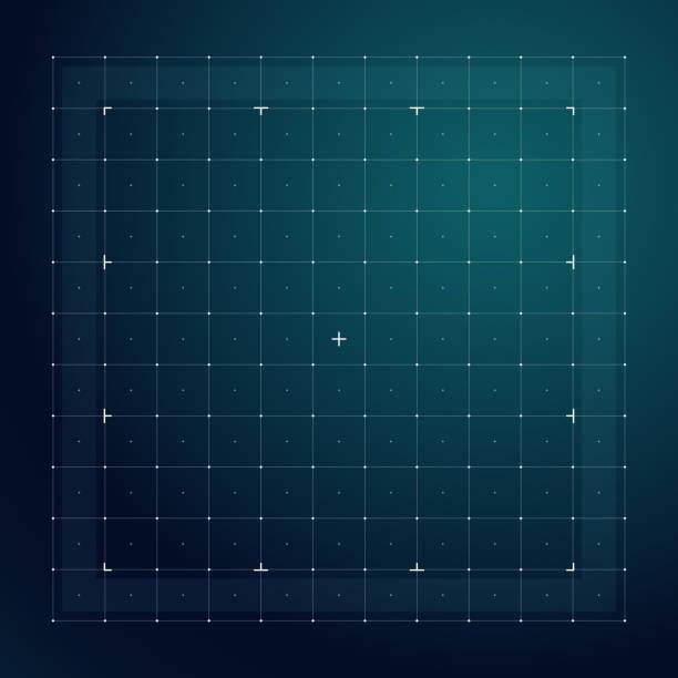 미래 hud 인터페이스의 그리드 선 기술 벡터 패턴 - 정사각형 구성 stock illustrations