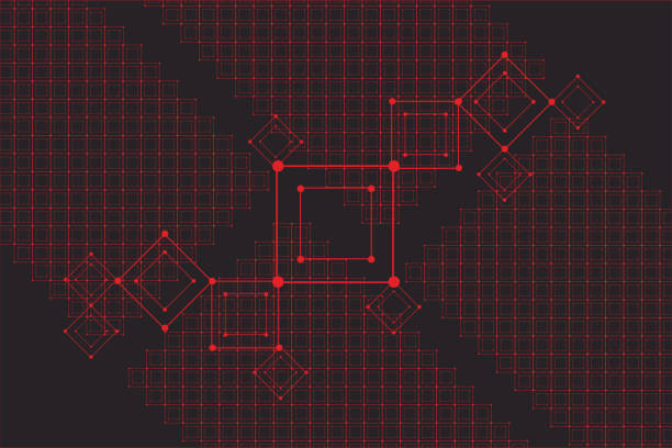 ilustrações de stock, clip art, desenhos animados e ícones de grid for futuristic hud interface. line technology vector pattern - vr red background