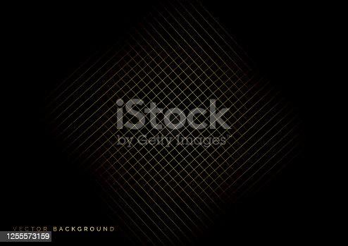 istock Grid golden lines pattern on black background. 1255573159