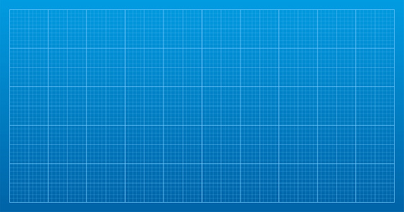 Grid Graph Paper Sheet Blueprint. Blue on White Background. Texture Template. Vector illustration