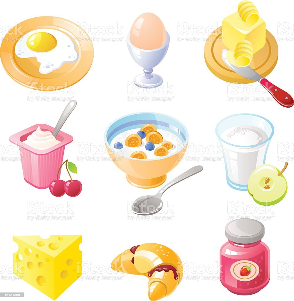 Grid of 9 breakfast foods drawings including eggs and fruit royalty-free stock vector art