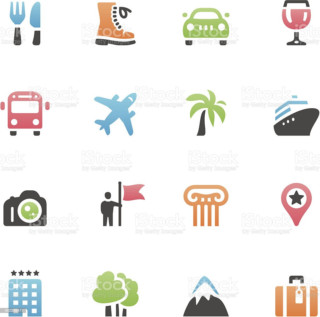 Grid of icons associated with vacation vector art illustration