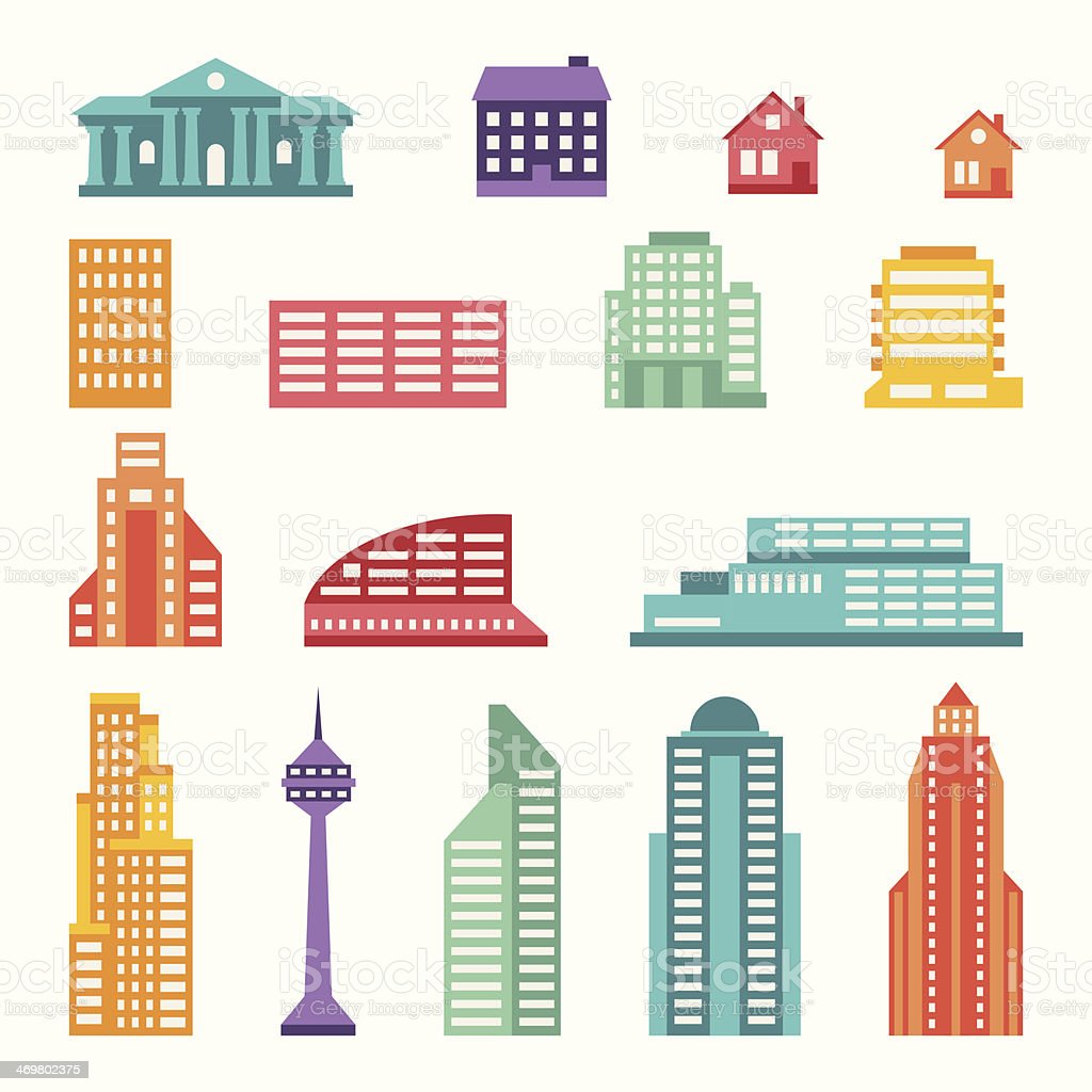 Grid of icons depicting a city vector art illustration