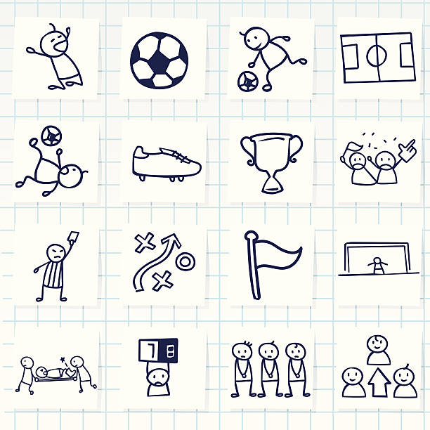 Grid of icons related to sports Vector File of Soccer Icon fan club stock illustrations