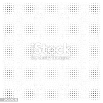 istock Grid paper. Dotted grid on white background. Abstract dotted transparent illustration with dots. White geometric pattern for school, copybooks, notebooks, diary, notes, banners, print, books. 1290806283