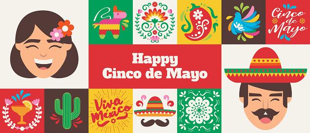 Gridded Cinco de Mayo Celebration banner - v2